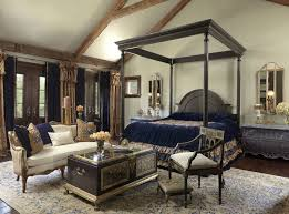 Traditional Royal Bedroom Exposed Wood Finishes Elegant Deep Blue Bedding