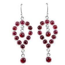 sold out 925 sterling silver natural red garnet chandelier earrings jewelry k80786
