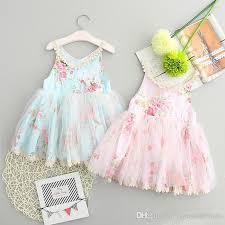2017 children summer frocks broken flower dress sleeveless kids lace tutu dress baby princess
