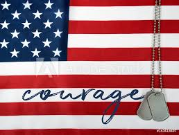 american flag word art photo art print word courage and military dog tags on american