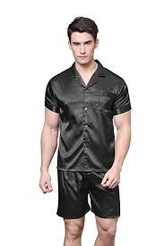 <b>TONY</b> AND <b>CANDICE Men's</b> Short Sleeve <b>Satin</b> Pajama Set with ...
