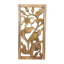 hand carved orchid relief wall panel