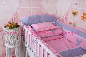 baby bedding set for girls pink crib bedding beautiful bow knot patterns bed decoration include pillow