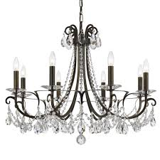 crystorama othello 8 light clear crystal english bronze chandelier