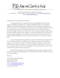 abe and sarah s kids sle donation request letter for churches