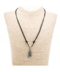 two metal feather pendants with silver colored beads on adjustable black rope cord necklace old silver cx12o5lqacq