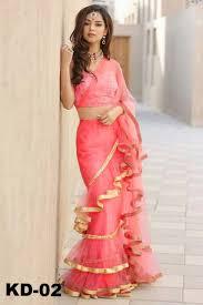 Indian Saree Designs Images Peach Pink Net Ruffle Border Saree Designs Indian Party Dresses