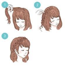 編み込みカチューシャのミディアムヘアアレンジイラスト付 2014年12