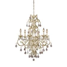 newcastle 6 light crystal chandelier lighting fixture antique white with gold accents clear crystal drops b10220