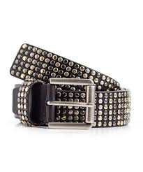 womens black studded leather belt