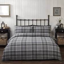 details about 100 brushed cotton flannelette black grey checked duvet quilt cover bedding set