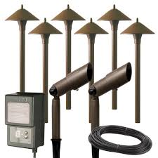 Cheap Landscape Lighting Kits Hampton Bay Low Voltage Aged Brass Outdoor Halogen Landscape