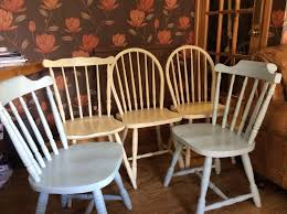 5 wooden kitchen chairs 3 cream and 2 blue
