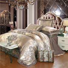 ivarose 4 pieces gold lace jacquard luxury bedding set queen king size bed set silk