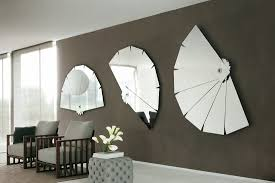 Living Room Mirrors Decoration Decorations Rectangular Mirrors On Beige Wall Above Rusic Wooden