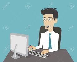 Travail De Bureau L Homme D Affaires Travaillant L Ordinateur