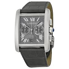 cartier tank mc chronograph grey dial grey leather men s watch w5330008