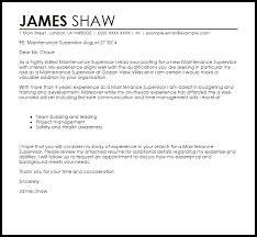 Cover Letter For Maintenance Manager Maintenance Supervisor Cover