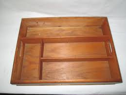 antique wooden storage box for pens pencils and organization dovetailed corners handles at each end flatware