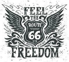 自由を感じるルート 66手描き手レタリングとグランジ ビンテージのイラストこの図はt