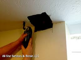 use an oscillating tool or a fixed jab saw to cut out the damaged drywall in the ceiling after cutting out the damaged drywall save the damaged pieces of