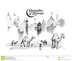 Eid Mubarak Greeting Card Template Hand Drawn Sketch Stock Vector