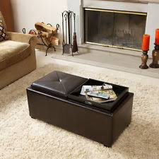 Wonderful 2 Tray Top Brown Leather Storage Ottoman Coffee Table