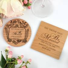 Wedding Coasters Engraved Wedding Wooden Coasters Bomboniere Personalized Favors
