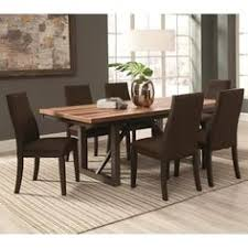 for reclaimed wooden block design table with industrial style base and ergonomic chairs dining set