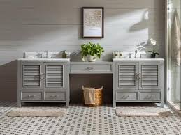 The virtu usa 78'' caroline parkway double sink vanity set by virtu offers a clean sleek structure with abundant storage and includes a espresso, grey or white vanity cabinet, countertop with backsplash, a white basin and matching framed mirror. Makeup Vanity Tables Bathroom Makeup Vanity Makeup Sink Vanity