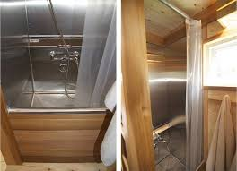 tiny house shower toilet combo - they used SS commercial sink