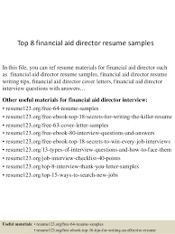 Sample Director Of Finance Resume Top 8 Financial Aid Director Resume Samples
