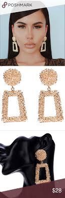 Zara Golden Raised Design Earrings Golden Raised Statement Drop Earrings Zara Dupe Not From