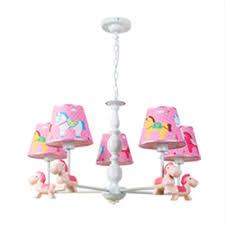 3 5 bulb cartoon horse design princesses kids room chandelier in blue pink