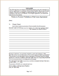Lease Violations Letter To Correct Violations Of Lease Agreement Word