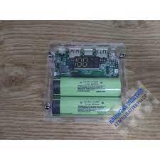 Box sạc dự phòng bằng mica sử dụng 2 pin 21700 10.000mah mạch sạc nhanh QC  4.0 5v 9v 12v báo pin bằng đồng hồ led - Sạc dự phòng