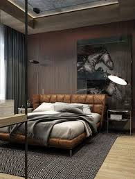 Brown Masculine Bedroom With Leather Elements
