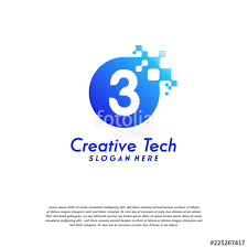 number 3 template pixel number 3 logo designs 3 number design vector template with