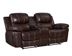 leather reclining console loveseat 999 95 legato dark brown recliner
