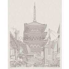 水彩でも楽しめる八坂の五重塔写図塗り絵細密写実風景画