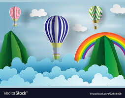 Paper Art Of Balloon Floating Over The Sky And