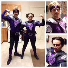 white goodman and the deadliest woman alive with a dodgeball take dodgeball couples costume diy globo gym purple cobras
