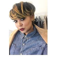 short black hairstyle honey highlights