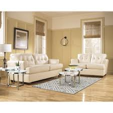 Ivory Living Room Furniture Signature Design By Ashley Durablend Ivory Leather Living Room Set
