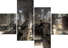 >large 4 piece panel set wall art canvas pictures new york city  image is loading large 4 piece panel set wall art canvas