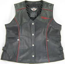 womens harley davidson leather vest hairpin xl extra black red cream snap up bar