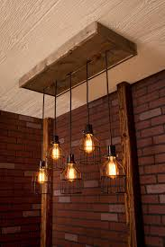 Industrial lighting Cage Light Chandelier Black With Reclaimed Wood and 5  Pendants. R-1434