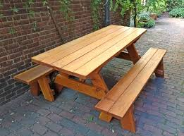 wooden picnic tables round wood picnic table with benches