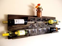 appealing dark brown hanging wine glass rack with shelf and bottles