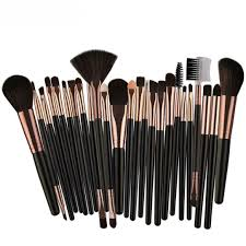 25pcs professional make up brush set black gold